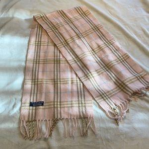 Burberry Pink Plaid Cashmere Scarf